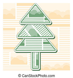 Green Christmas fir tree from sheets of newspaper