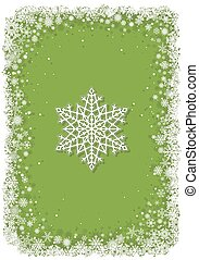 Green Christmas frame with snowflakes