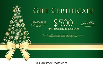 Green Christmas gift certificate with Christmas tree...