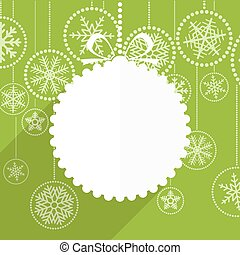 Green Christmas greeting card with white christmas bauble and sn