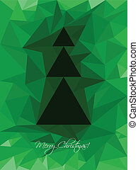 Green christmas greeting with abstract tree