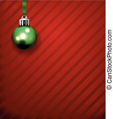 Green Christmas Holiday Ornament on a Red Pattern Background Illustration