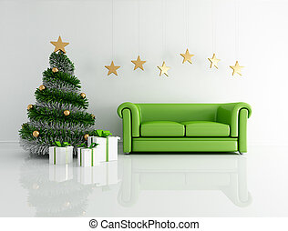 green christmas interior