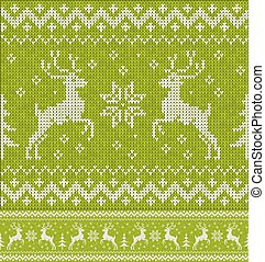 Green Christmas knit with deers seamless pattern - Green...