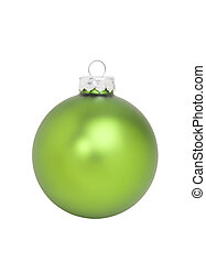 Green Christmas Ornament, isolated w/clipping path