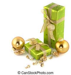 Green christmas presents