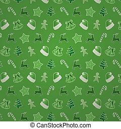 Green Christmas Seamless Pattern
