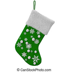 Green Christmas Stocking with snowflakes, 3d render