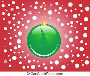 Christmas toy - green Christmas toy on a red background with...