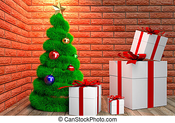 green Christmas tree and giftboxes