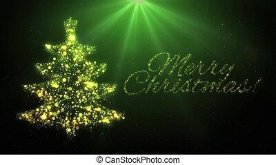 Green Christmas tree animation and Merry Christmas