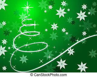 Green Christmas Tree Background Shows December And Flowers...