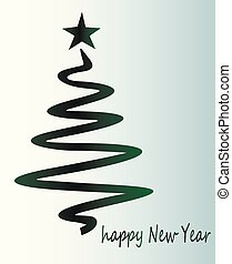 Green Christmas tree - beautiful festive greeting card