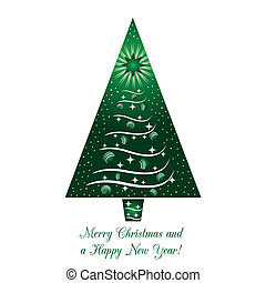 Green Christmas Tree Greeting Card