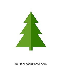 Green christmas tree icon vector isolated on white background