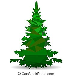 Green Christmas tree in the style of low poly, Close-up on a white background triangulation