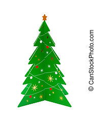 green christmas tree on a white background