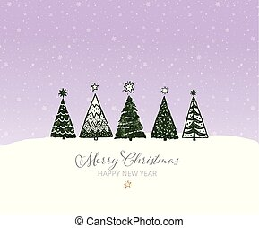Green christmas tree on night sky background with snowflakes