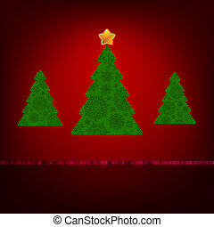 Green christmas tree on red background. EPS 8