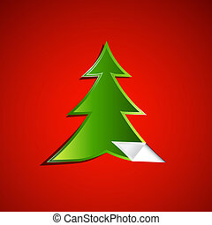 Green Christmas Tree on Red Background