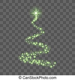 Green Christmas tree on transparent background Happy New...