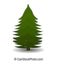 Green Christmas tree on white background