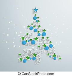 Green Christmas Tree Red Blue Star
