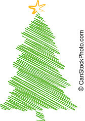 green christmas tree scribble drawing, vector background