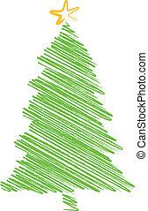 christmas tree scribble drawing - green christmas tree...