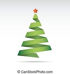 Green Christmas Tree. Vector Illustration.