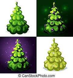 green christmas tree - vector illus