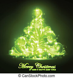 Green Christmas tree with a soft glow and sparkles