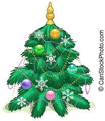 Green Christmas tree with balls