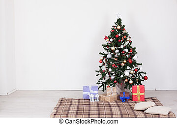 Christmas tree with presents on a white background for the new year