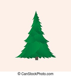 Green christmas tree with realistic branches isolated