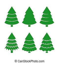 Christmas Trees Icons Set. Vector
