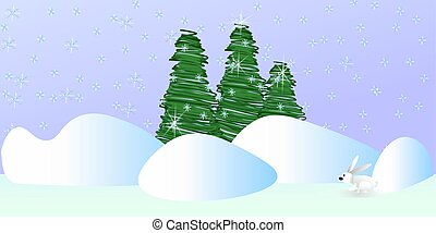 green Christmas trees on a gray background with snowflakes and snowdrifts a white hare sitting in the snow