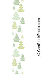 Green Christmas trees silhouettes textile vertical border...