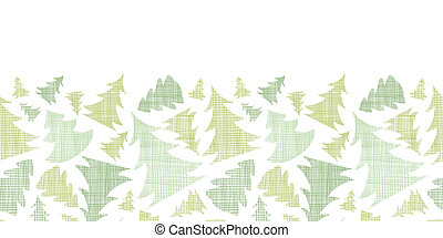 Green Christmas trees silhouettes textile horizontal border seamless pattern background