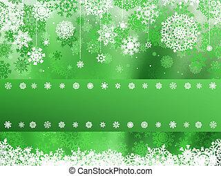 Green christmas with snowflake. EPS 8
