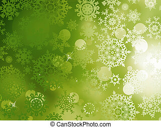 Green Christmas with snowflakes. EPS 10