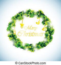 Green christmas wreath background