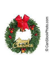 Green christmas wreath red ribbon.