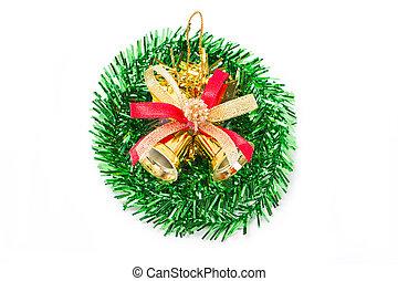 Green christmas wreath with golden bells.