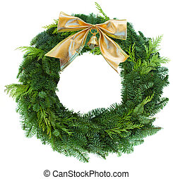 green christmas wreath woth golden bow