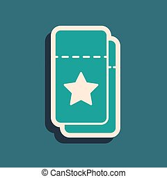 Green Cinema ticket icon isolated on green background. Long shadow style. Vector