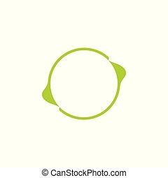 green circle arrow leaf frame logo vector