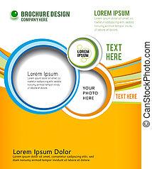 Green circle on orange wave background - flyer design