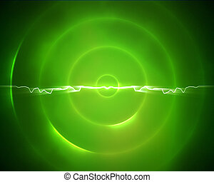 Green circle with a lightning in the middle - Background of...