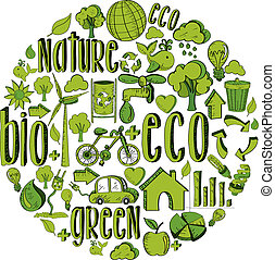 Green circle with environmental icons